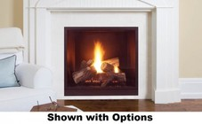 """Majestic Onyx MLDV500PSCSB 42"""" Rear/Top Convertible Clean Face Direct Vent Fireplace with Natural Flame Burner  Safety Barrier and Signature Command Control Ignition System: Liquid Propane"""