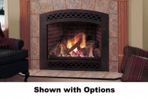 "Majestic Lexington LX36DVPSB 36"" Liquid Propane Convertible Direct Vent Fireplace with Flush Face Design  LexFire Burner  Ceramic Glass  Logs  Safety Barrier and Millivolt Ignition System"