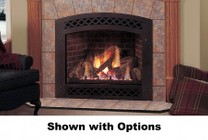 """Majestic Lexington LX36DVNSB 36"""" Natural Gas Convertible Direct Vent Fireplace with Flush Face Design  LexFire Burner  Ceramic Glass  Logs  Safety Barrier and Millivolt Ignition System"""