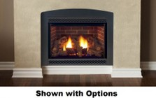 """Majestic Cameo 600DVMNSCSB 47"""" Natural Gas Rear/Top Convertible Direct Vent Fireplace with Wide-Open Design  Natural Flame Burner  Safety Barrier and Signature Command Ignition System"""