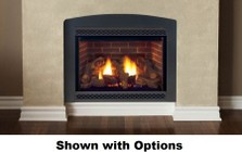 """Majestic Cameo 500DVMPSCSB 42"""" Liquid Propane Rear/Top Convertible Direct Vent Fireplace with Wide-Open Design  Natural Flame Burner  Safety Barrier and Signature Command Ignition System"""