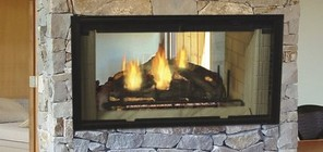 "Majestic DSR42 42"" Designer See-Thru Radiant Wood Burning Fireplace with Full Refractory Lining and Authentic Masonry Appearance  UL/ULC Listed"