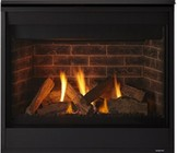 """Majestic Quartz QUARTZ32IN 32"""" Top/Rear Direct Vent Fireplace with 21 000 Max BTU  Onyx & Diamond Glass Bed  Natural Stones and IntelliFire Ignition - Natural Gas"""