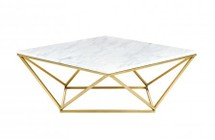 """Meridian Mason Collection 216-C 36"""" Coffee Table with Marble Top  Stainless Steel and Contemporary Style in Rich Gold Finish"""