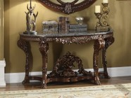"""Meridian Chateau Collection 402-T 60"""" Console Table with Marble Top  Carved Detailing  Hand Crafted and Traditional Style in Rich Cherry Finish"""