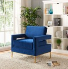 "Meridian Noah Collection 511NAVY 34"" Accent Chair with Velvet Upholstery  Track Arms  Stainless Steel Base and Contemporary Style in Navy with Gold Finish"