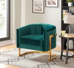 "Meridian Carter Collection 515GREEN 32"" Accent Chair with Velvet Upholstery  Track Arms  Stainless Steel and Contemporary Style in Green with Gold Finish"