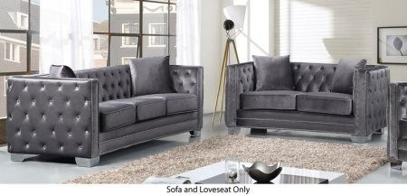 Meridian Reese Collection 648 GRY S L 2 Piece Living Room Set With Sofa And  Loveseat In Grey