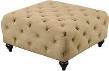 "Meridian Chesterfield 662SAND-OTT 36"" Ottoman with Top Quality Linen Fabric Upholstery in Sand"