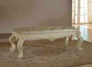 Meridian Novara NOVARA-B Bench with Hand Carved Design  Bonded Leather and Tufted Upholstery in Pearl White Finish