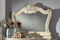 """Meridian Monaco MONACO-M 58"""" Mirror with Hand Carved Details in a Antique White Finish"""