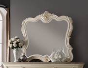 """Meridian Marquee MARQUEE-M 49"""" Mirror with Hand Craved Detail Molding in Pearl White Finish"""