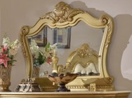 """Meridian Lavish LAVISH-M 58"""" Mirror with Hand Craved Detail Molding in a Gold Finish"""