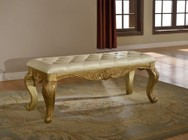 """Meridian Lavish LAVISH-B 53"""" Bench with Hand Carved Traditional Design  Leather Tufted Upholstery in Rich Gold and White"""
