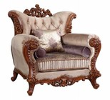 "Meridian Bordeaux 605C 48"" Arm Chair with Accent Pillows  Solid Wood Hand Carved Designs and Removable Back in Rich Cherry"