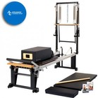 MERRITHEW ST01085 Rehab V2 Max Plus Reformer Bundle: Rehab V2 Max Plus Reformer  Mat Converter  Padded Platform Extender  Reformer Box with Footstrap  Maple Roll-Up Pole  and 2 Exercise DVDs