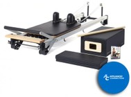 MERRITHEW ST11049 SPX Max Reformer Bundle with Tall Box: SPX Max with Reformer  Padded Platform Extender  Tall Reformer Box with Footstrap  Maple Roll-Up Pole  and 2 Exercise DVDs