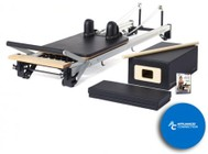 MERRITHEW ST01080 SPX Max Reformer Bundle: SPX Max Reformer  Padded Platform Extender  Reformer Box with Footstrap  Maple Roll-Up Pole  and 2 Exercise DVDs