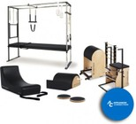 MERRITHEW ST11002 Pilates Rehab Studio 2 Bundle: Cadillac Trapeze Table  Split-Pedal Stability Chair  Ladder Barrel  Spine Supporter  Spine Corrector  Rotational Disks  and 2 Exercise DVDs