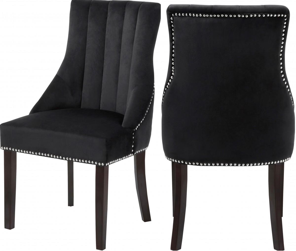 Cheap Black Dining Chairs: Meridian Oxford Black Velvet Dining Chair