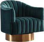 "Meridian Farrah Collection 520-Green 32"" Accent chair with Velvet  Gold Swivel Base and Contemporary Design in Green"