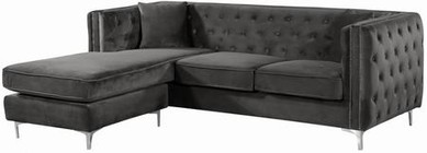 "Meridian Jesse Collection 668Grey-Sectional 90"" 2pc. Sectional with Velvet  Deep Tufting   Reversible Chaise  Chrome Nail Heads and Chrome Legs in Grey"