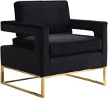 "Meridian Noah Collection 511BLACK 19"" Accent Chair with Velvet Upholstery  Track Arms and Gold Stainless Steel Base in Black"