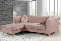 "Meridian Eliana Collection 660Pink-Sectional 88"" 2-Piece Reversible Sofa and Chaise with Velvet Upholstery  Channel Tufted Back and Pillows Included in Pink"