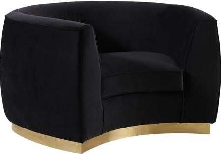Meridian Julian 620Black C Chair With Velvet Upholstery Gold Stainless  Steel Base And Curved Back Design In Black