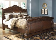 Millennium North Shore Collection B553-74/75/77 Queen Sized Sleigh Bed with Ornate Scrolling Details  Wide Bracket Feet and Moldings in Dark Brown