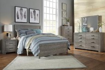 Milo Italia Monique Collection Queen Bedroom Set with Panel Bed  Dresser  Mirror and Nightstand in Gray