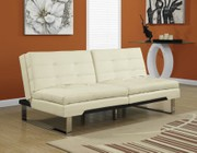 """Monarch I 8951 70"""" Futon with Chrome Metal Feet  Adjustable Back and Tufted Detailing"""