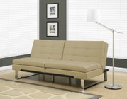 """Monarch I 8950 70"""" Futon with Chrome Metal Feet  Adjustable Back and Tufted Detailing in Taupe"""