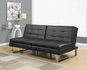 """Monarch I 8948 70"""" Futon with Chrome Metal Feet  Adjustable Back and Tufted Detailing in Black"""