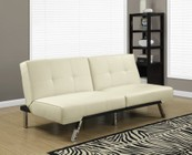 """Monarch I 8938 70"""" Futon with Chrome Metal Feet  Multiple Positions and Split Back Design in Ivory"""