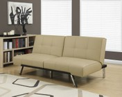"""Monarch I 8937 70"""" Futon with Chrome Metal Feet  Multiple Positions and Split Back Design in Taupe"""