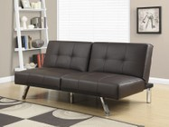"""Monarch I 8936 70"""" Futon with Chrome Metal Feet  Multiple Positions and Split Back Design in Brown"""