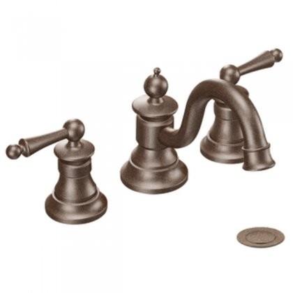 Moen TS418ORB Waterhill Two-Handle High Arc Bathroom Faucet in Oil ...