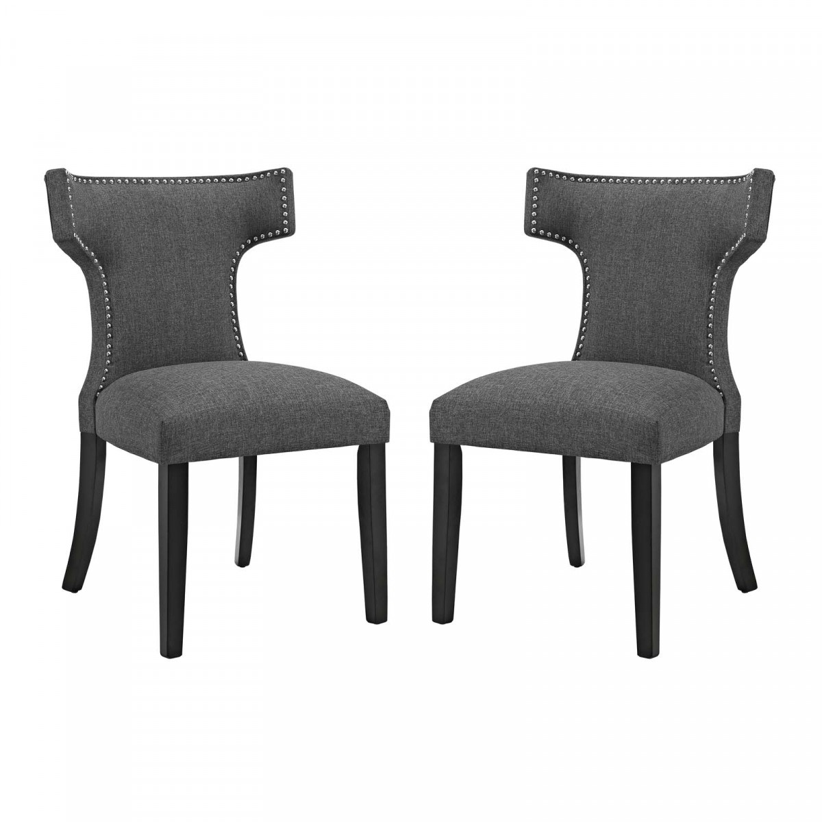 Modway Curve Gray Fabric Dining Side Chair