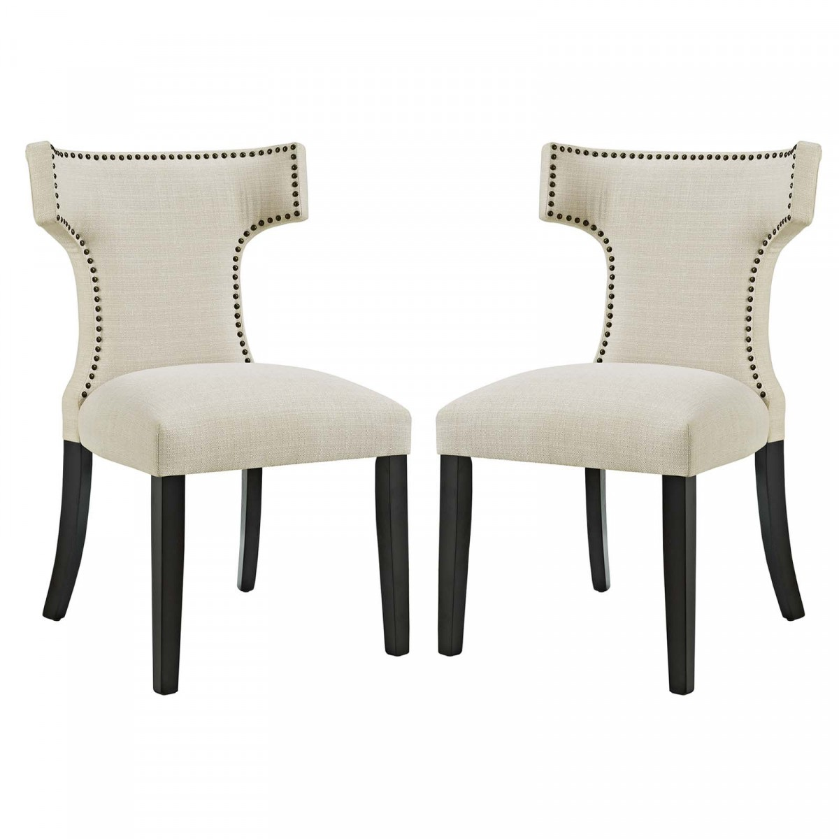 Modway Curve Beige Fabric Dining Side Chair
