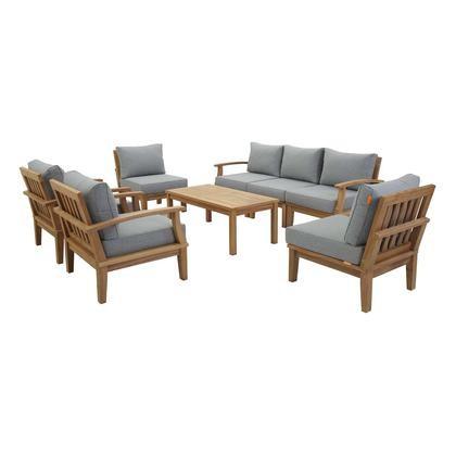 Grey Teak Coffee Table: Modway Marina Natural Gray 8-Piece Teak Outdoor Patio Set