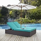 """Modway Convene EEI2180EXPTRQSET 82.5"""" Double Outdoor Patio Chaise with Umbrella  Polished 201 Stainless Steel Legs  Aluminum Frame  UV and Water Resistant in Espresso and Turquoise Color"""
