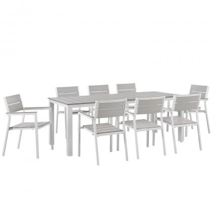 Modway EEI 1753 WHI LGR SET Maine 9 Piece Outdoor Patio Dining
