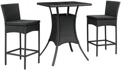 Modway Cerveza EEI835BLKBLKSET 3 PC Outdoor Patio Pub Set with 2 Chairs  Square Table  Fabric Cushion Seat  Synthetic Woven Beech Rattan Construction and Black Tempered Glass Top in Black Color
