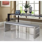 Modway EEI-868 Gridiron Benches Set of 2 in Silver Color