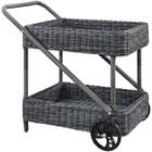 Modway Summon Rattan Patio Bar Cart in Gray