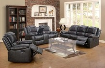 Myco Furniture Felton Collection 3 PC Living Room Set with Reclining Sofa + Reclining Loveseat + Recliner in Black Color
