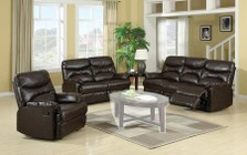 Myco Furniture Geneva Collection 3 PC Living Room Set with Reclining Sofa + Reclining Loveseat + Recliner in Brown Color