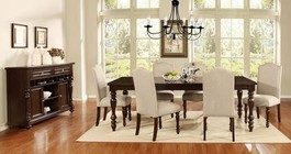 Myco Furniture Palisades Collection 8 PC Dining Room Set with Dining Table + Sideboard + 6 Side Chairs in Espresso Finish