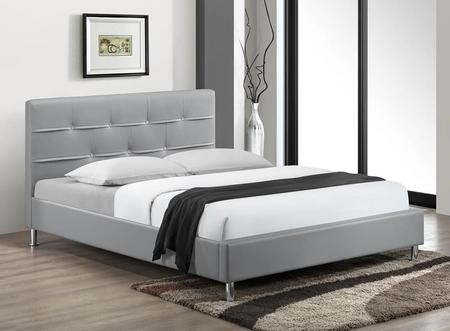 Myco Furniture Charlie Collection King Size Platform Bed With Nickel Legs Low Profile Footboard Crystal On Tufted Headboard Wood Frame And Faux Leather